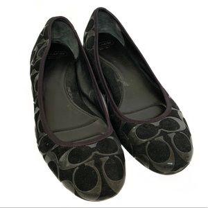"COACH ""Aria"" Black Monogram Slip-On Ballet Flats"
